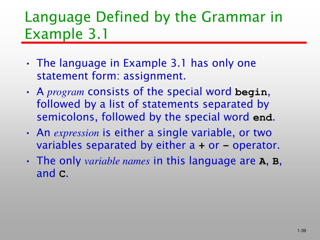 Language Defined by the Grammar in Example 3.1