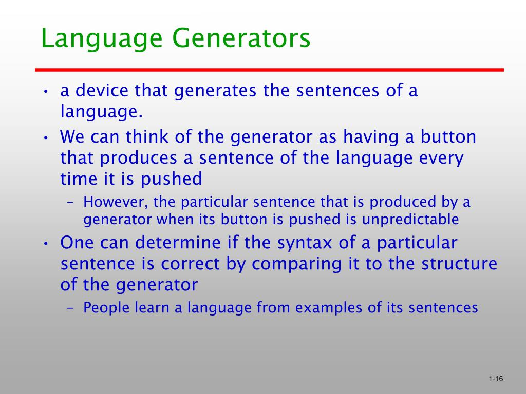 Language Generators