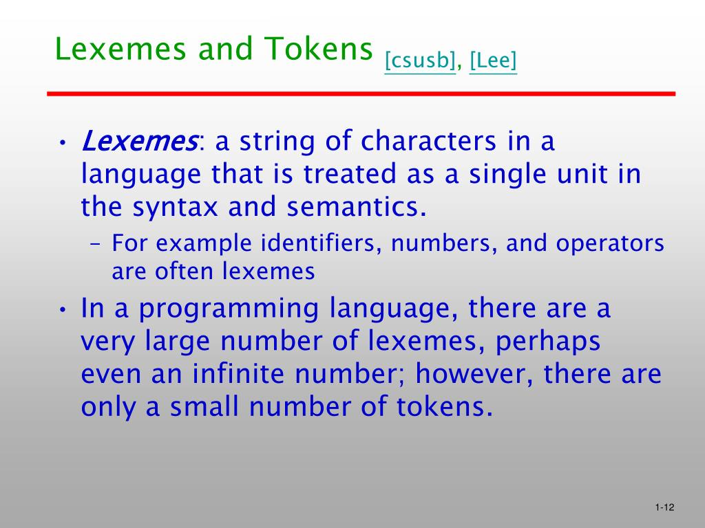 Lexemes and Tokens