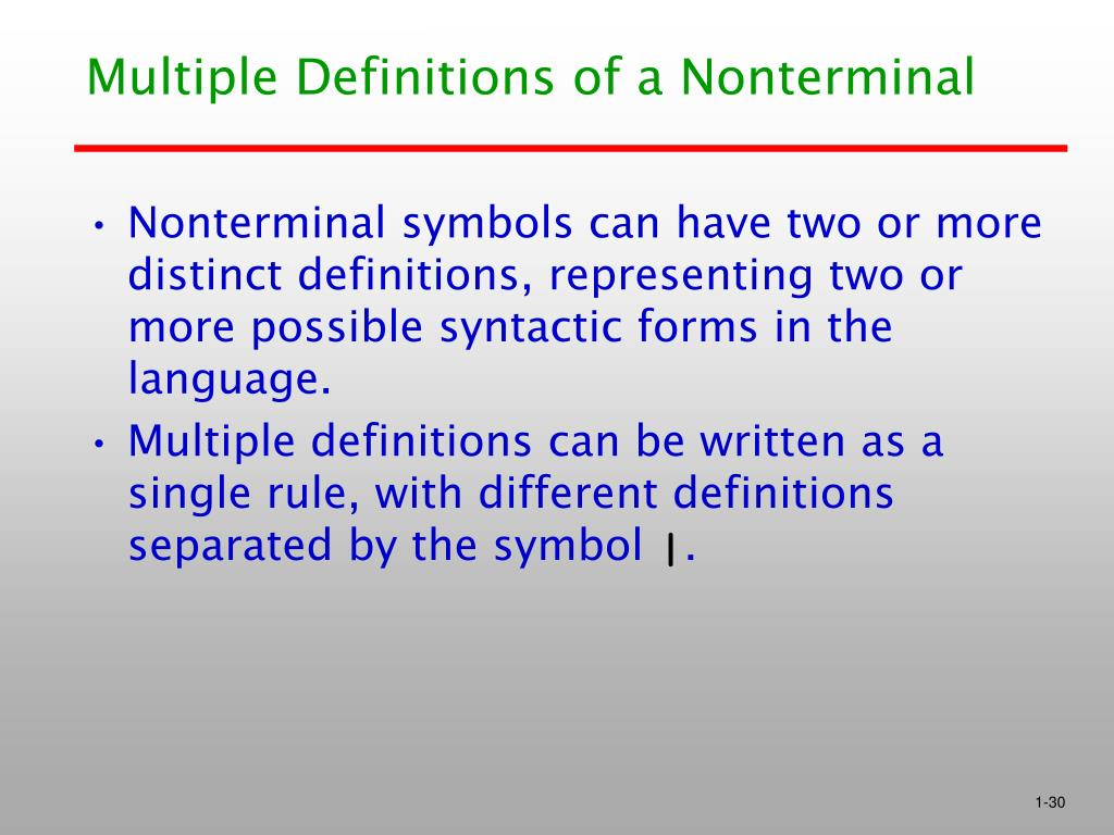 Multiple Definitions of a Nonterminal