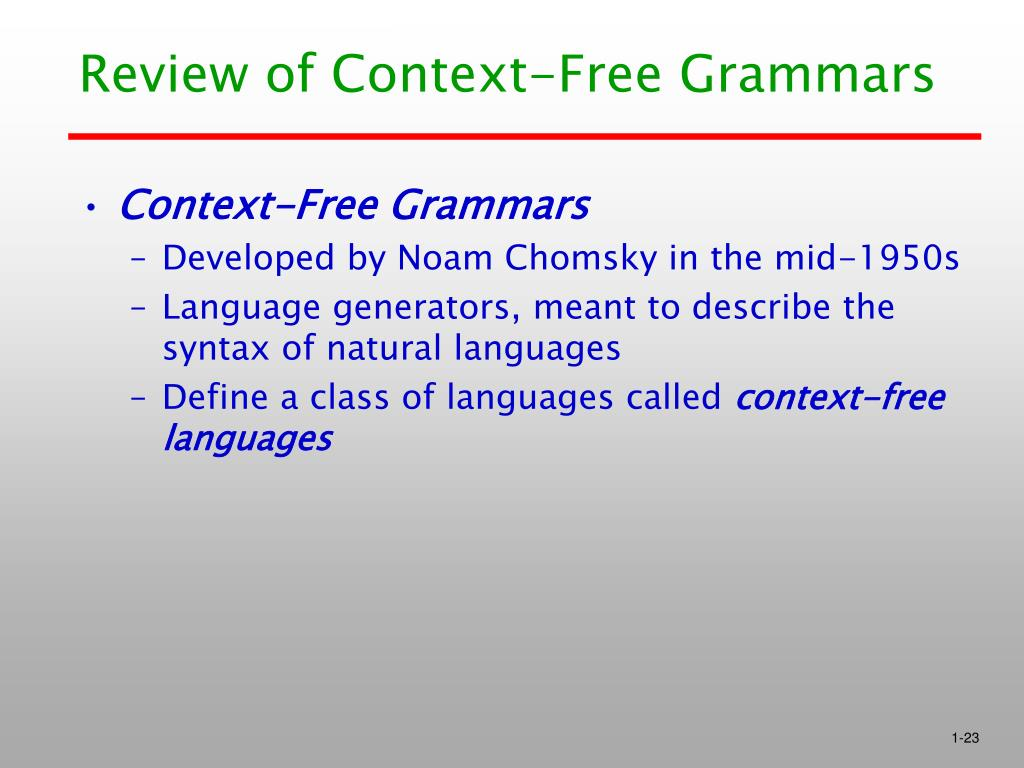 Review of Context-Free Grammars
