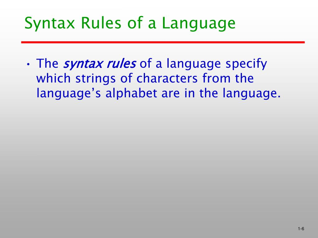 Syntax Rules of a Language