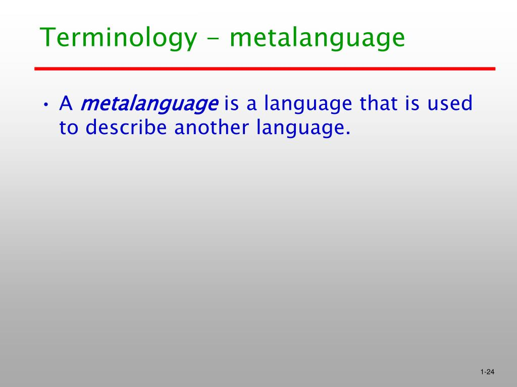 Terminology - metalanguage