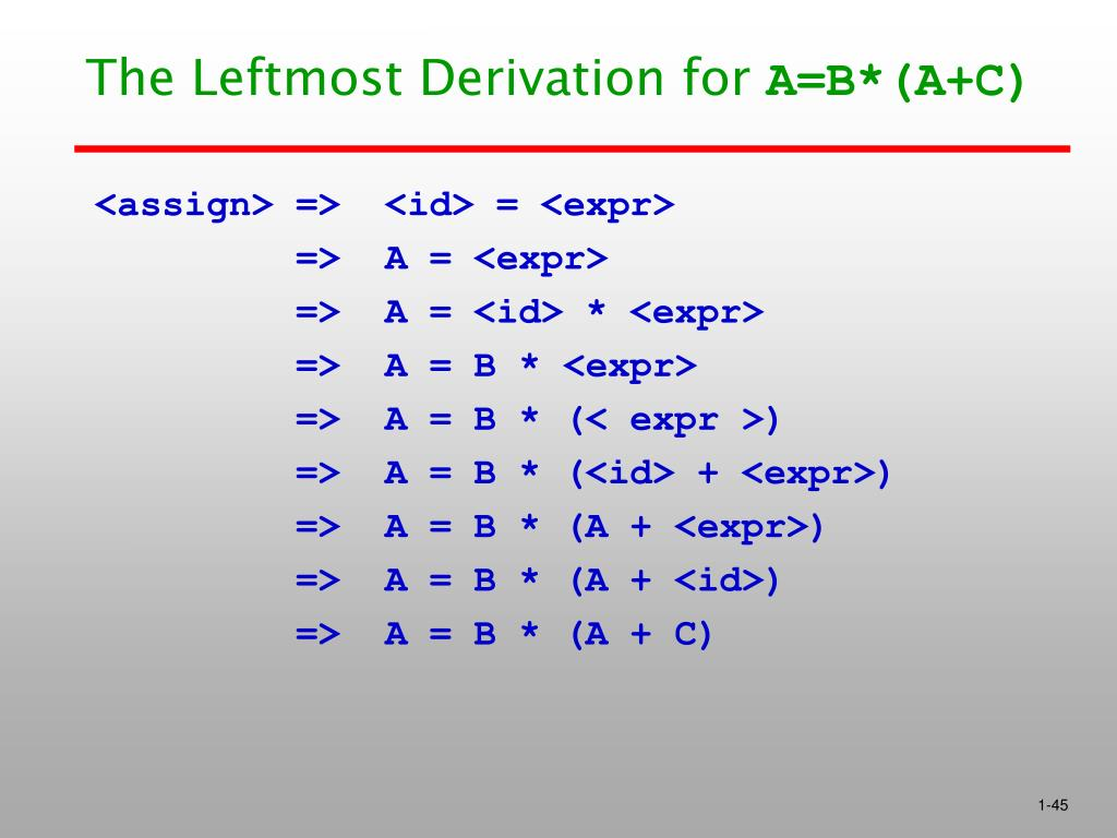 The Leftmost Derivation for