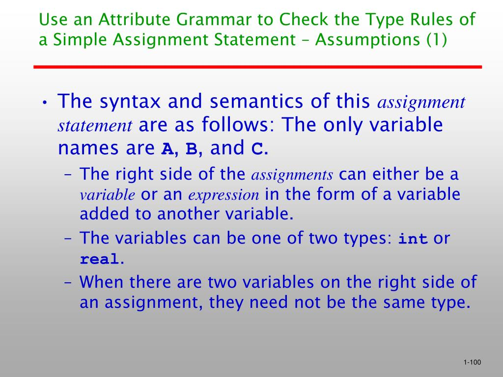 Use an Attribute Grammar to Check the Type Rules of a Simple Assignment Statement – Assumptions (1)