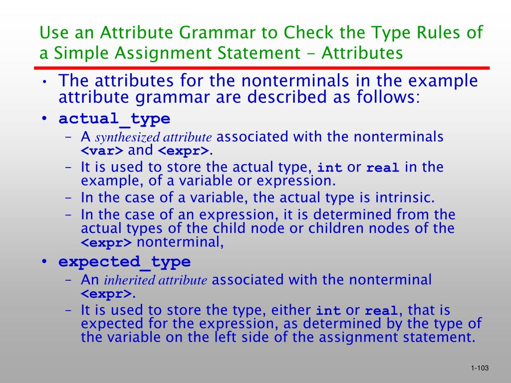 Use an Attribute Grammar to Check the Type Rules of a Simple Assignment Statement - Attributes