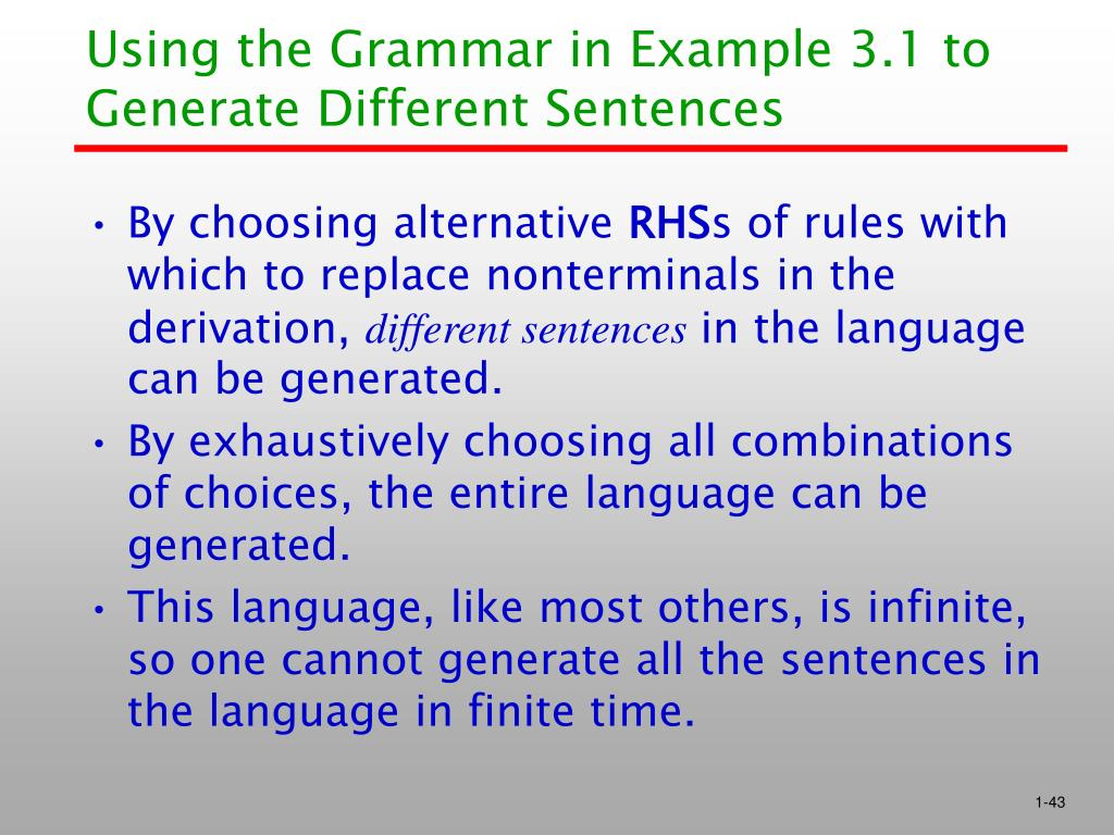 Using the Grammar in Example 3.1 to Generate Different Sentences