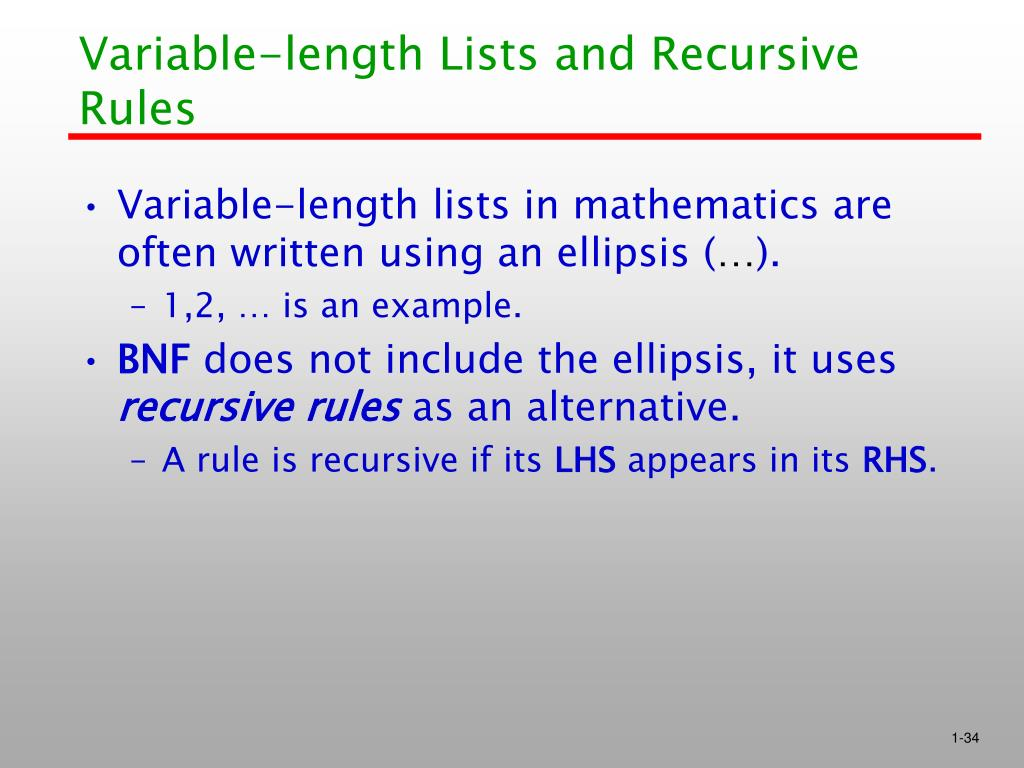 Variable-length Lists and Recursive Rules