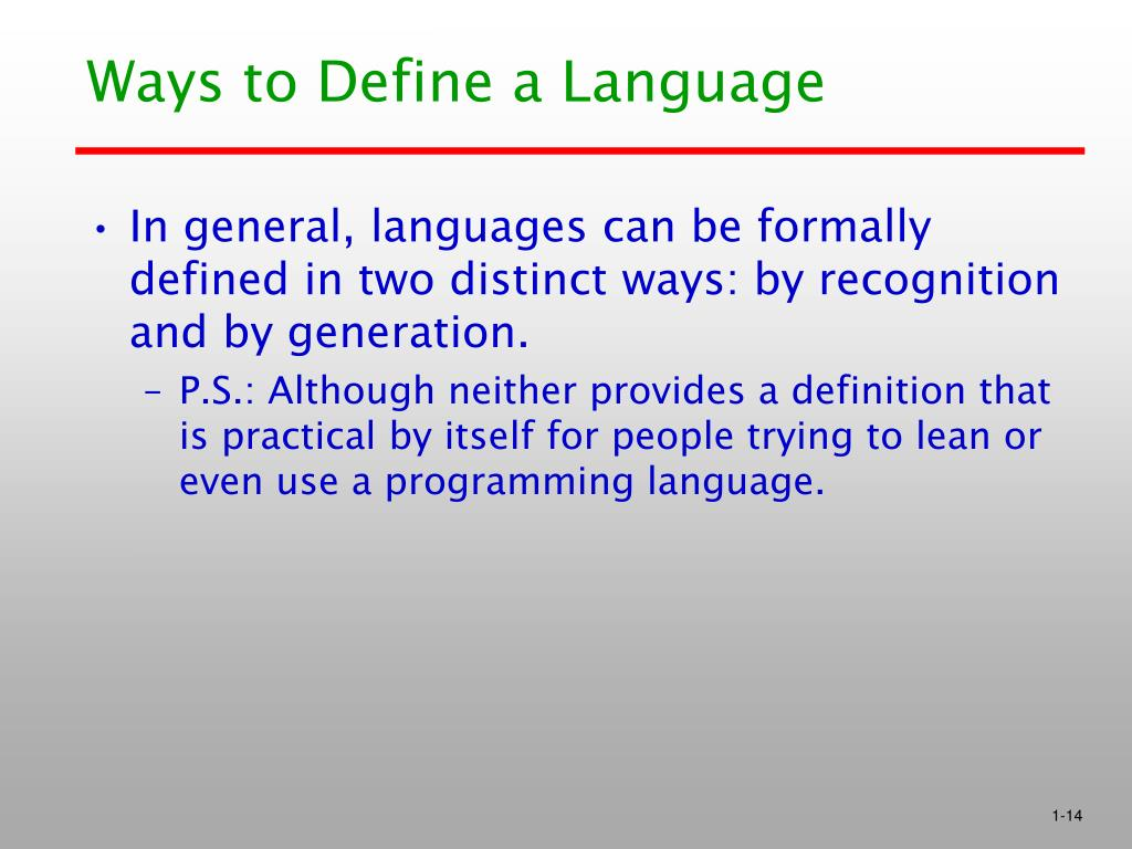 Ways to Define a Language