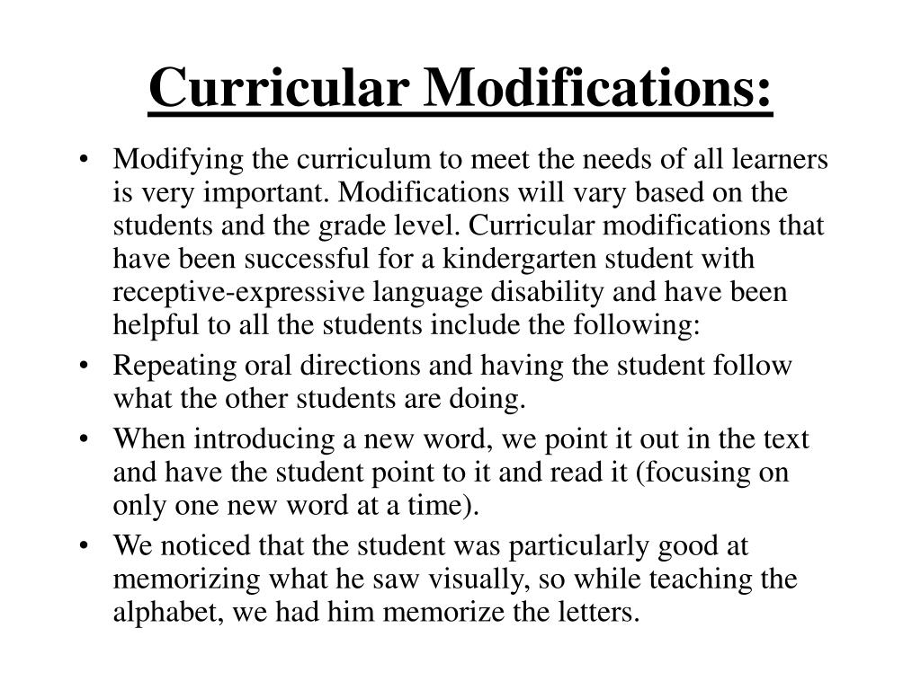 Curricular Modifications: