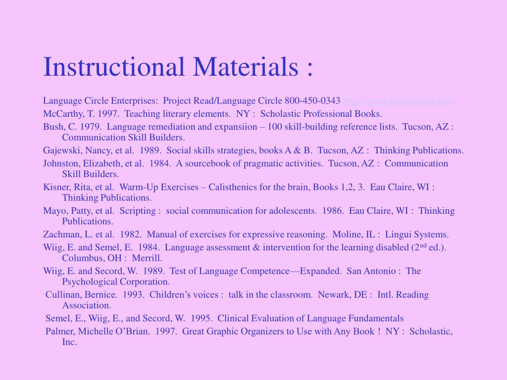 Instructional Materials :