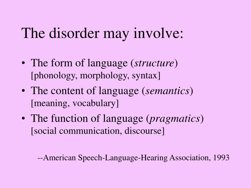 The disorder may involve: