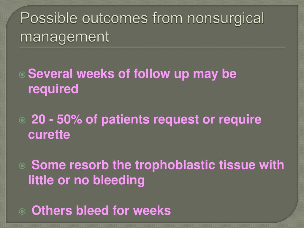 Possible outcomes from nonsurgical management