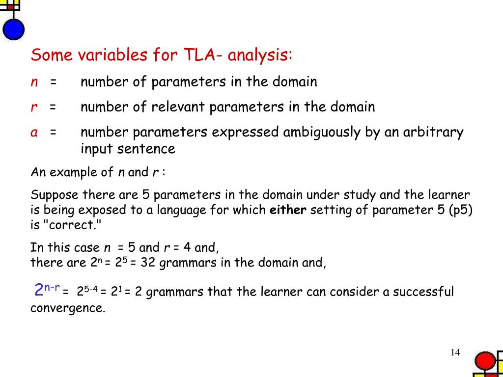 Some variables for TLA- analysis: