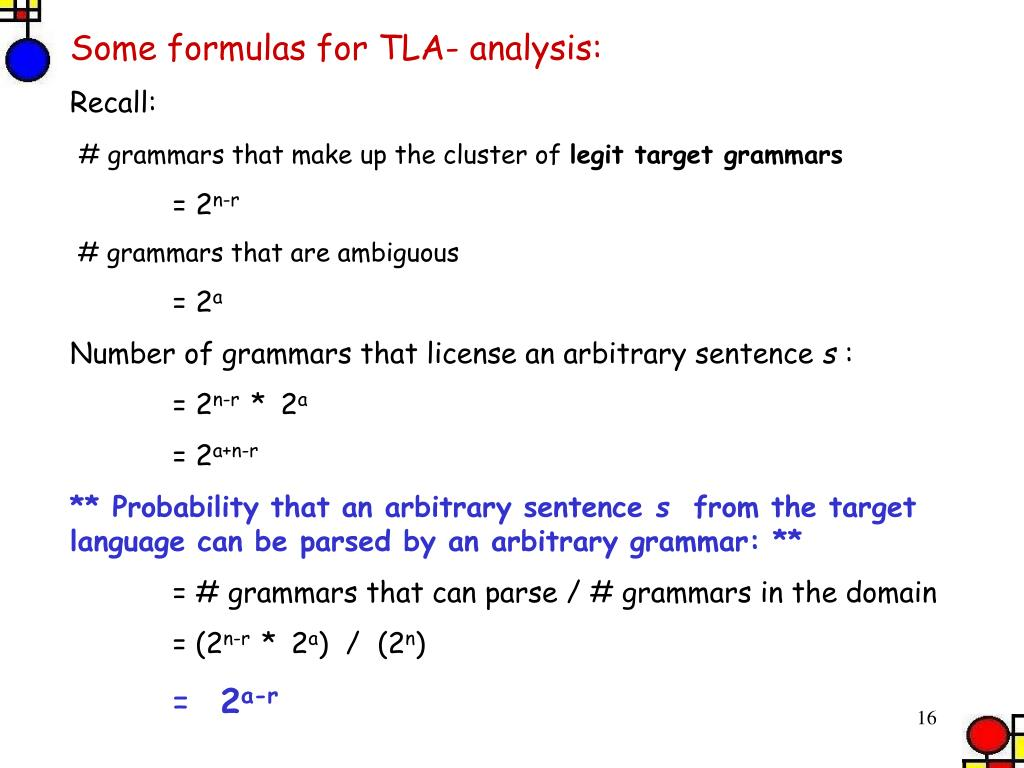 Some formulas for TLA- analysis: