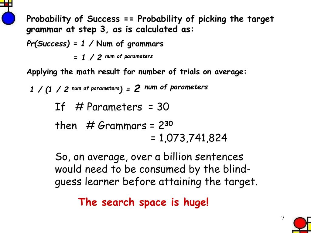 Probability of Success == Probability of picking the target grammar at step 3, as is calculated as:
