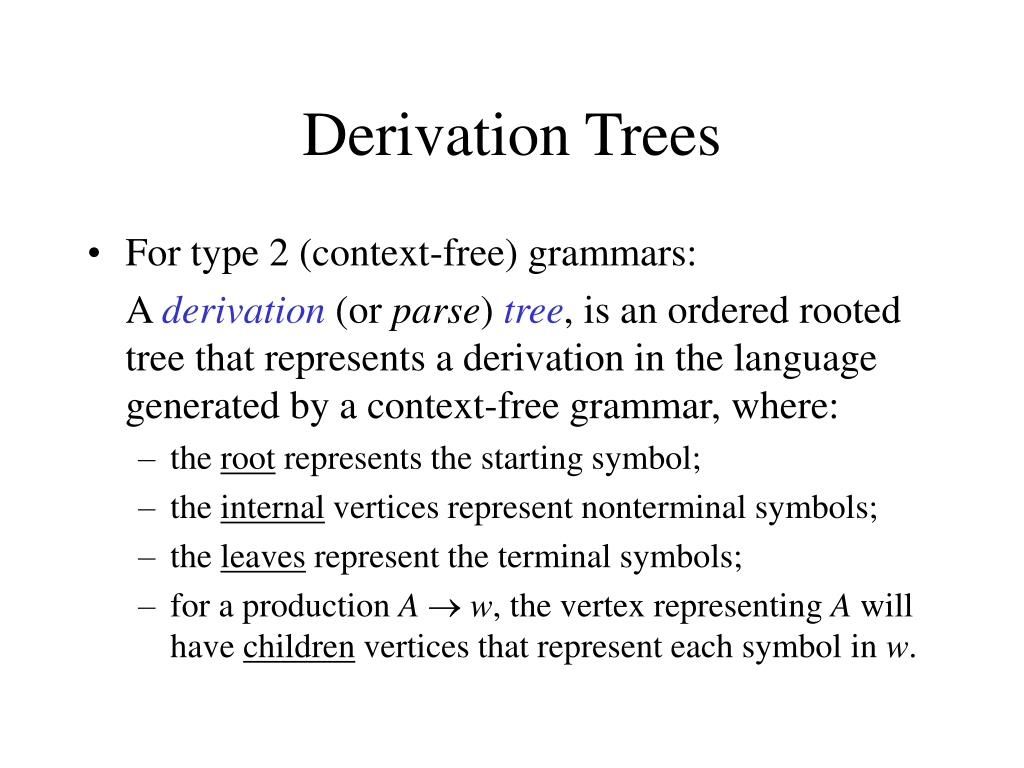 Derivation Trees