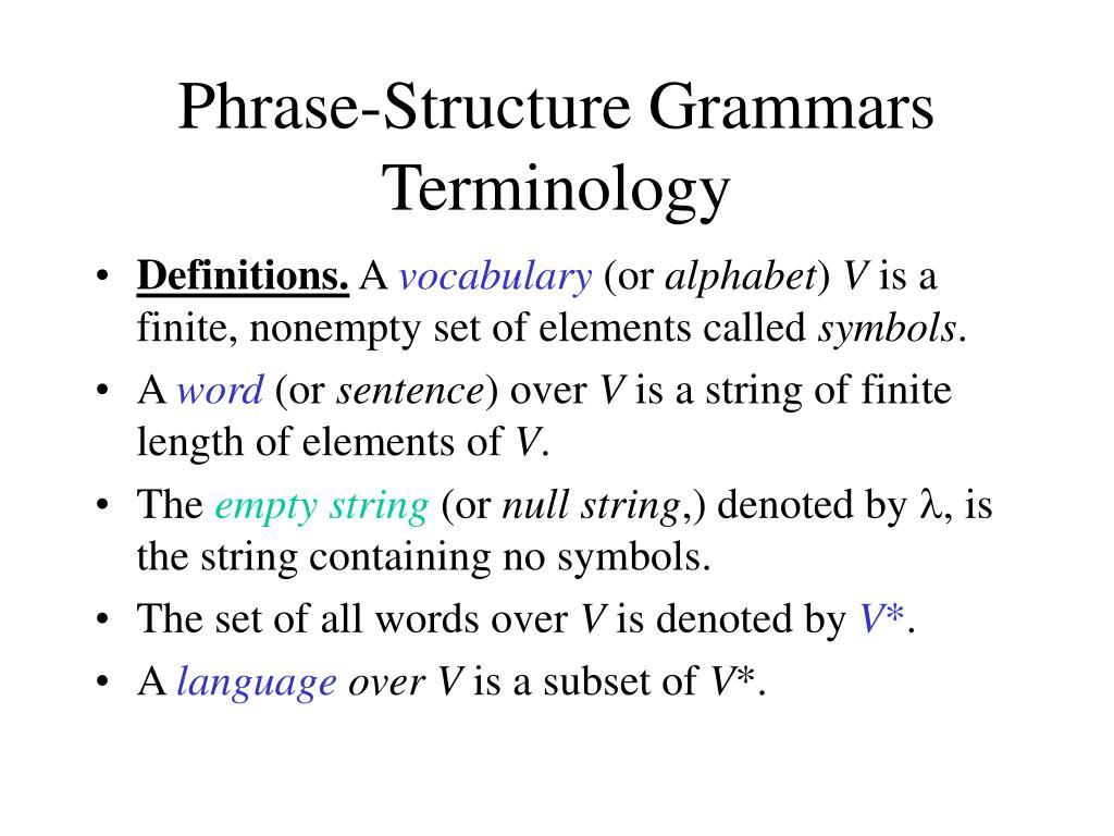 Phrase-Structure Grammars Terminology