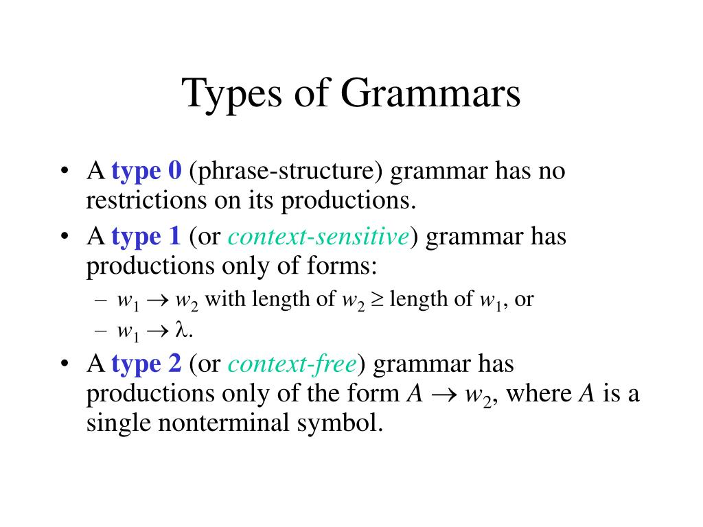 Types of Grammars