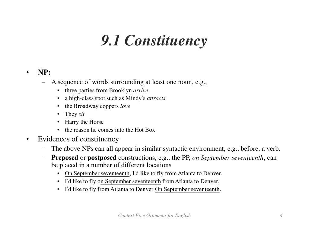 9.1 Constituency