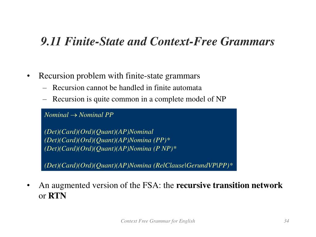 9.11 Finite-State and Context-Free Grammars