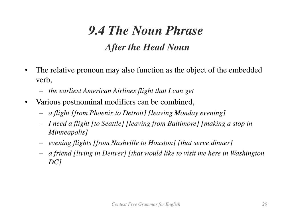 9.4 The Noun Phrase