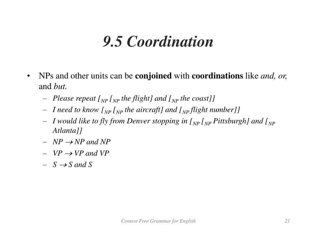 9.5 Coordination