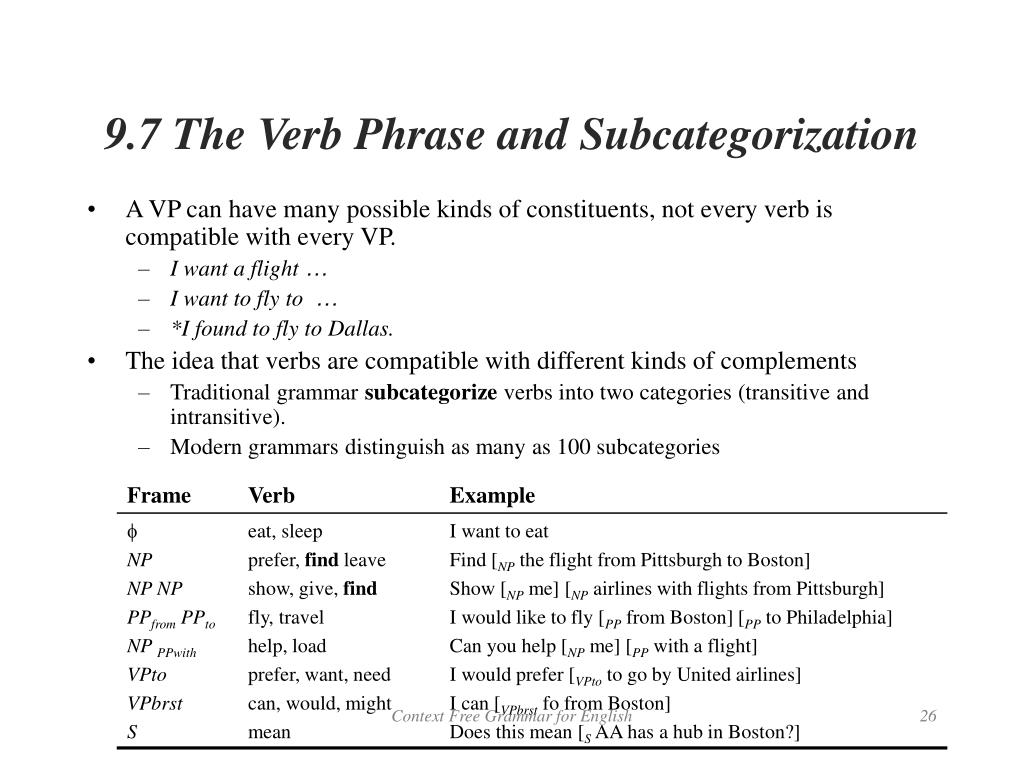 9.7 The Verb Phrase and Subcategorization