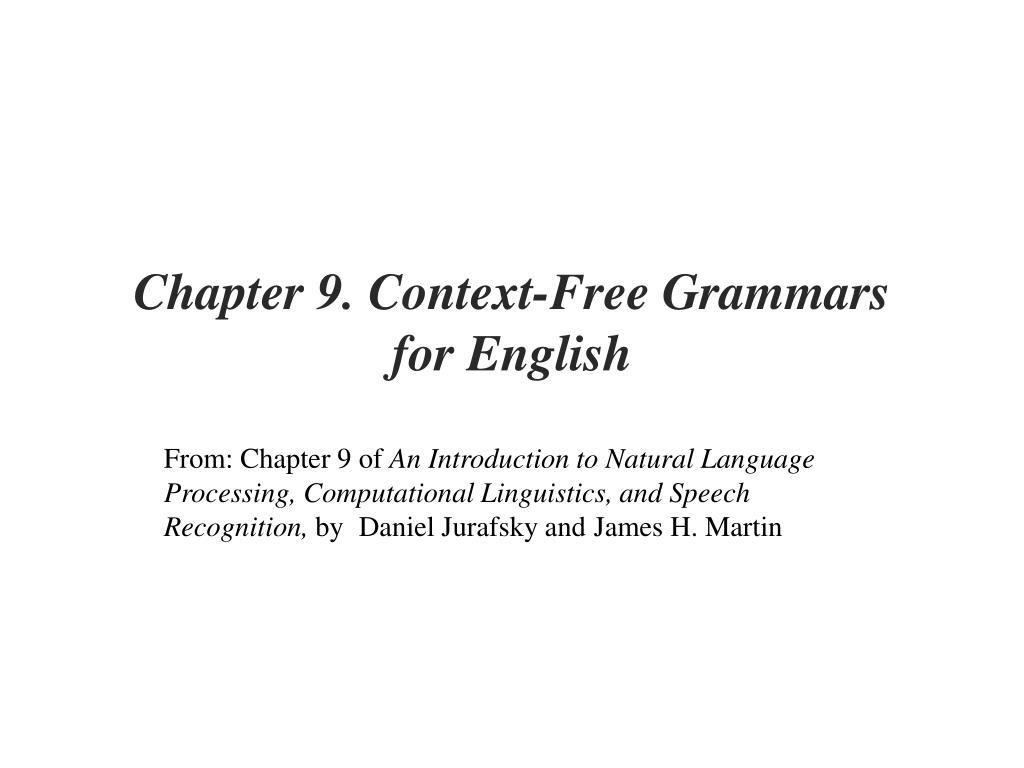 Chapter 9. Context-Free Grammars