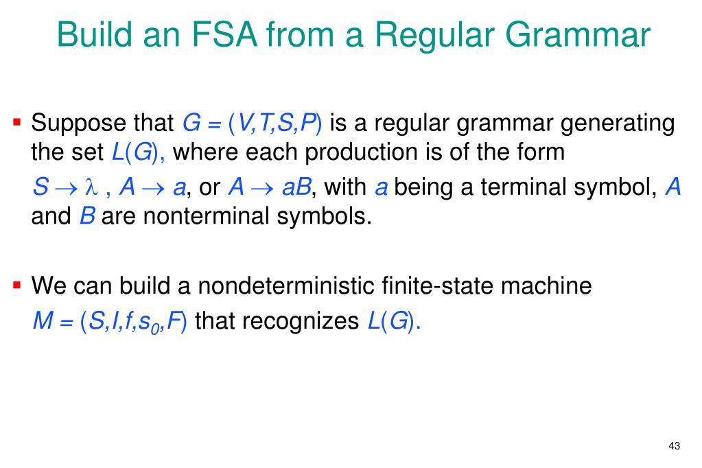Build an FSA from a Regular Grammar