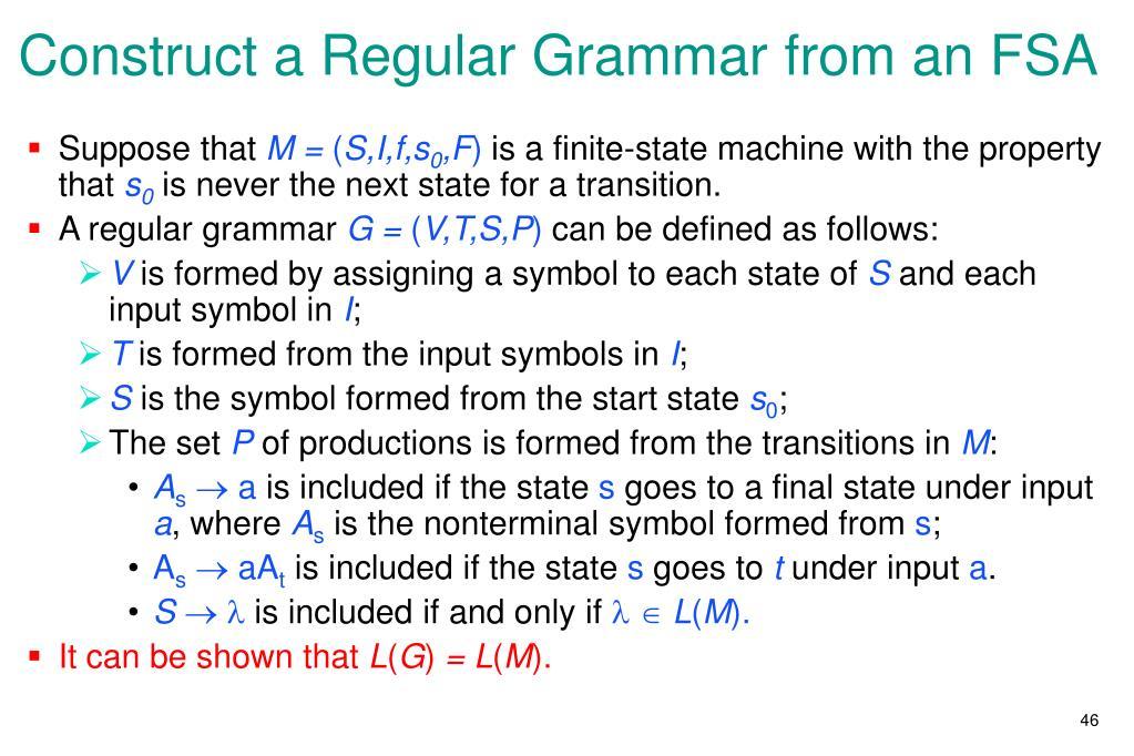 Construct a Regular Grammar from an FSA