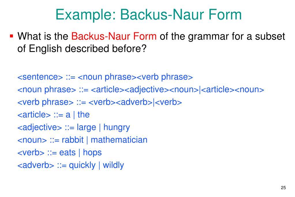 Example: Backus-Naur Form