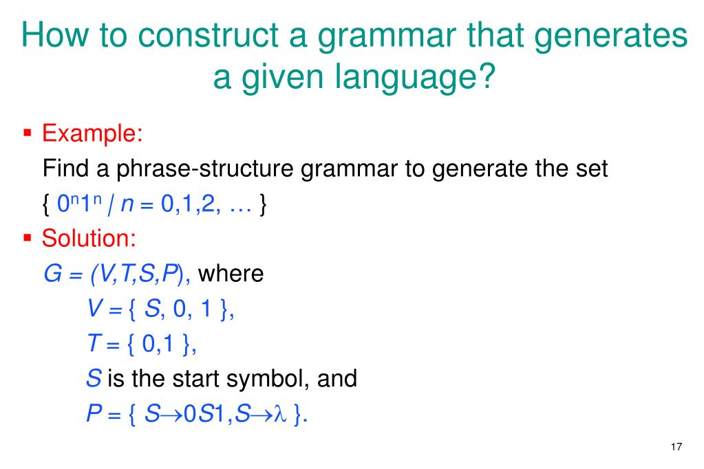 How to construct a grammar that generates a given language?