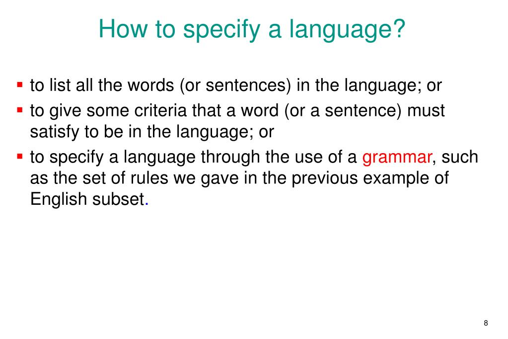 How to specify a language?