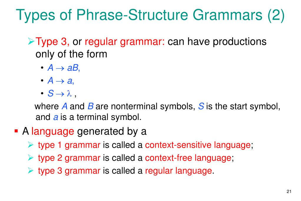 Types of Phrase-Structure Grammars