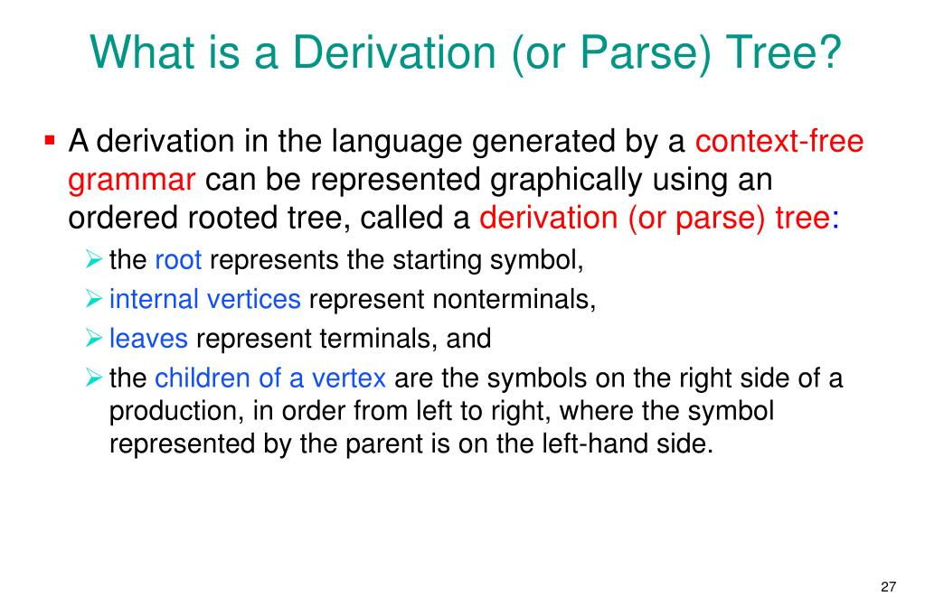 What is a Derivation (or Parse) Tree?