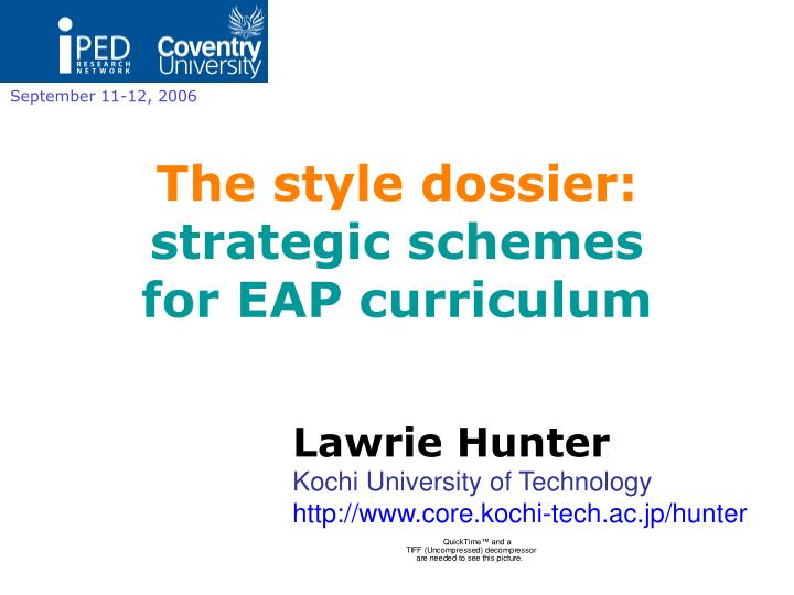 The style dossier strategic schemes for eap curriculum