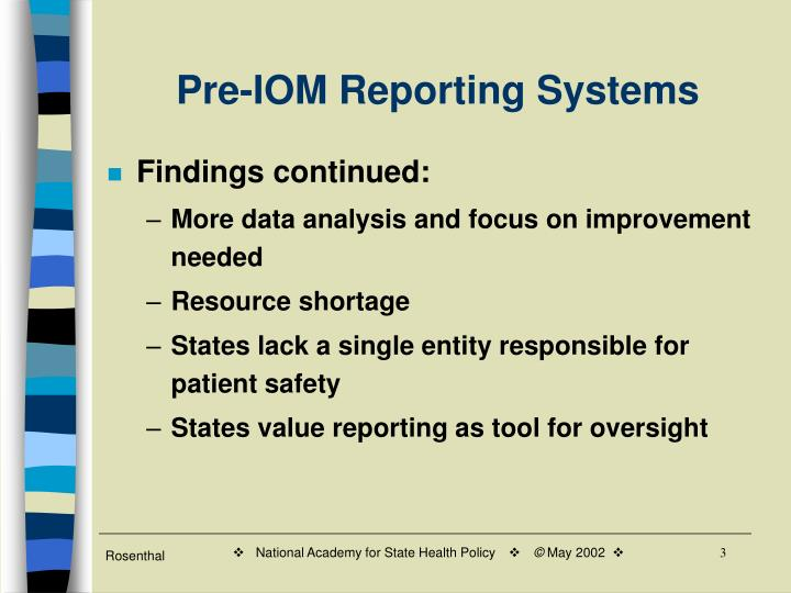 Pre iom reporting systems