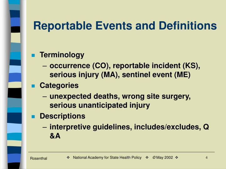 Reportable Events and Definitions