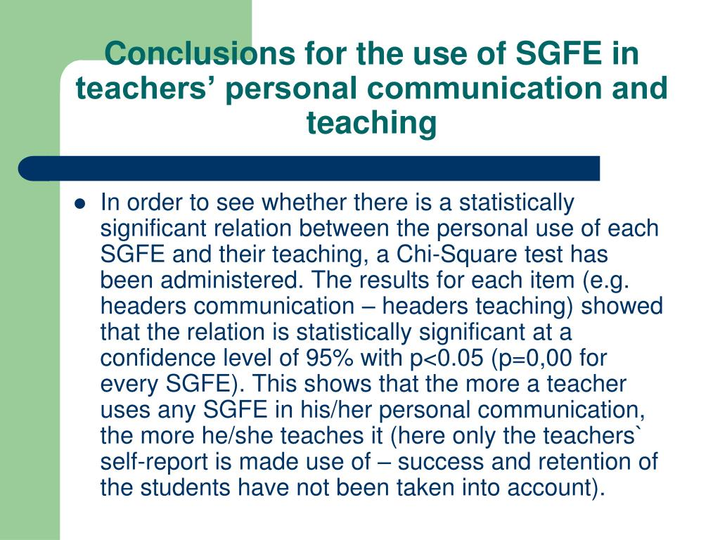 Conclusions for the use of SGFE in teachers' personal communication and teaching