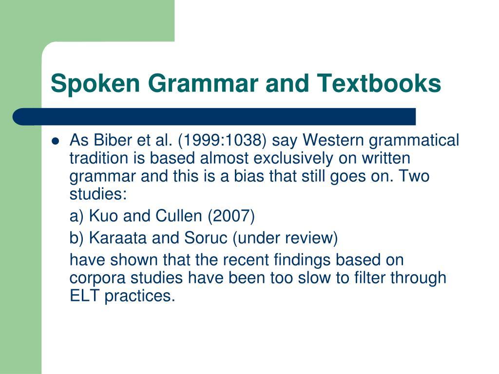 Spoken Grammar and Textbooks