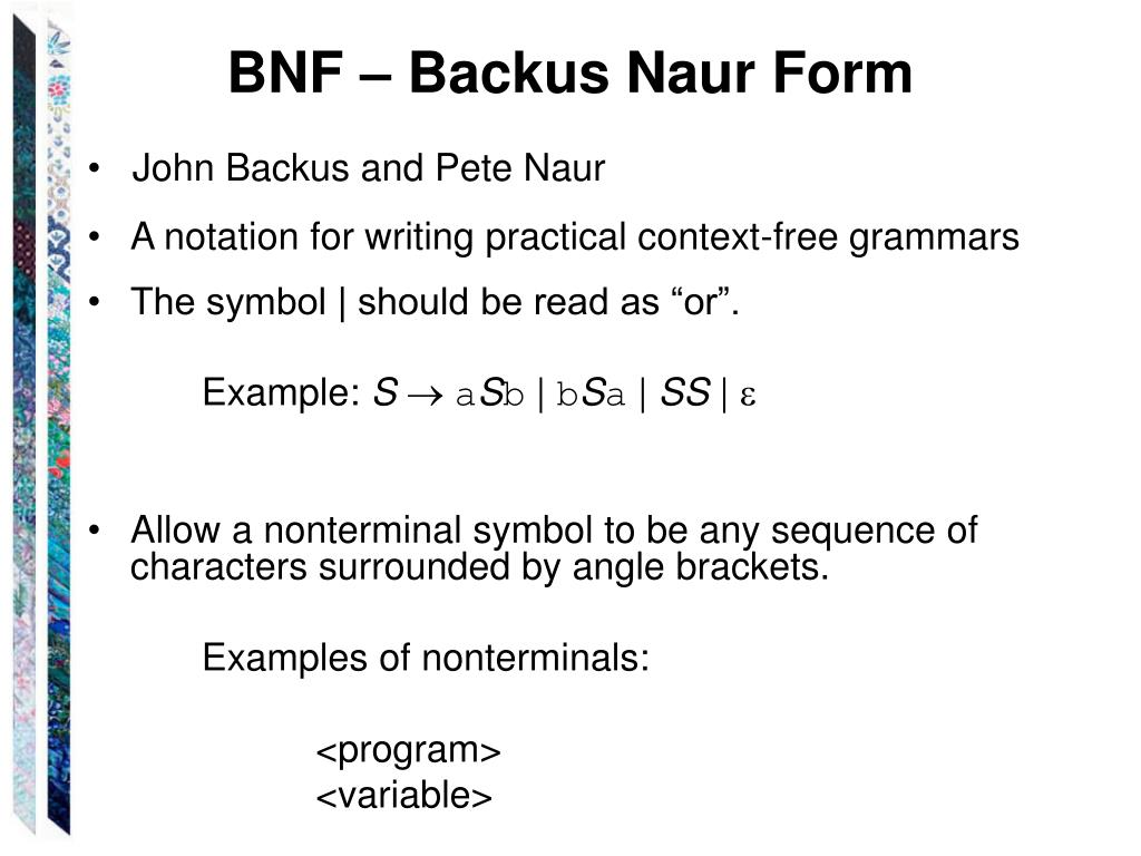 BNF – Backus Naur Form