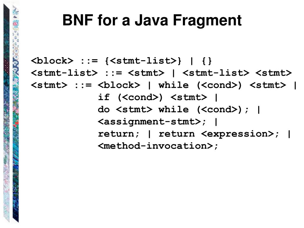 BNF for a Java Fragment