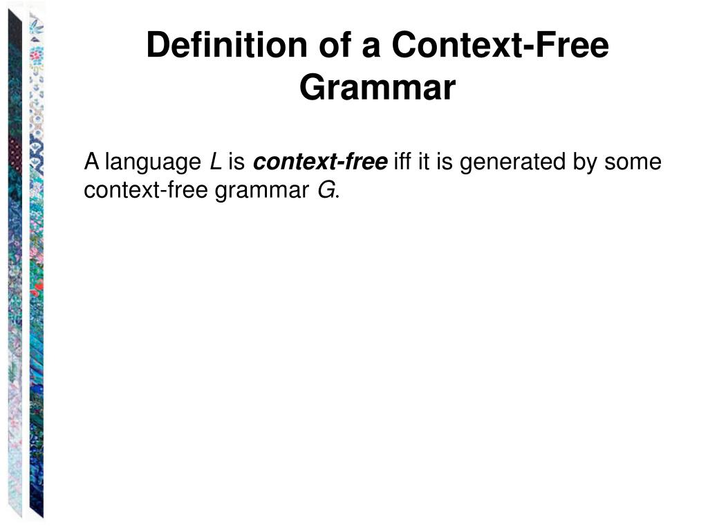 Definition of a Context-Free Grammar