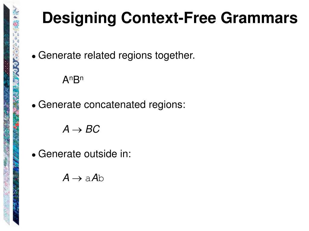 Designing Context-Free Grammars