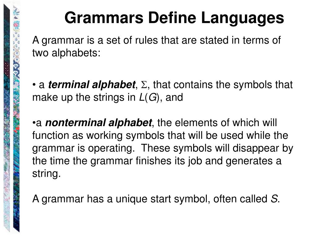 Grammars Define Languages