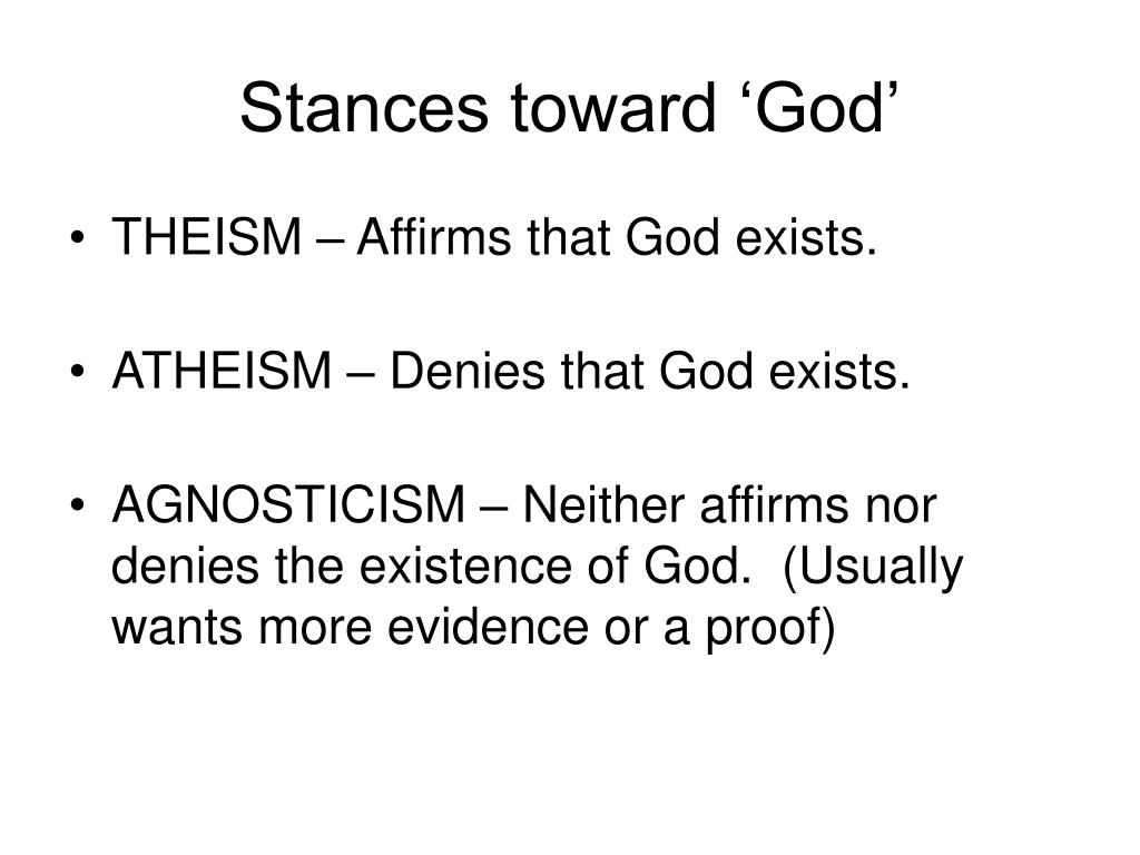 Stances toward 'God'