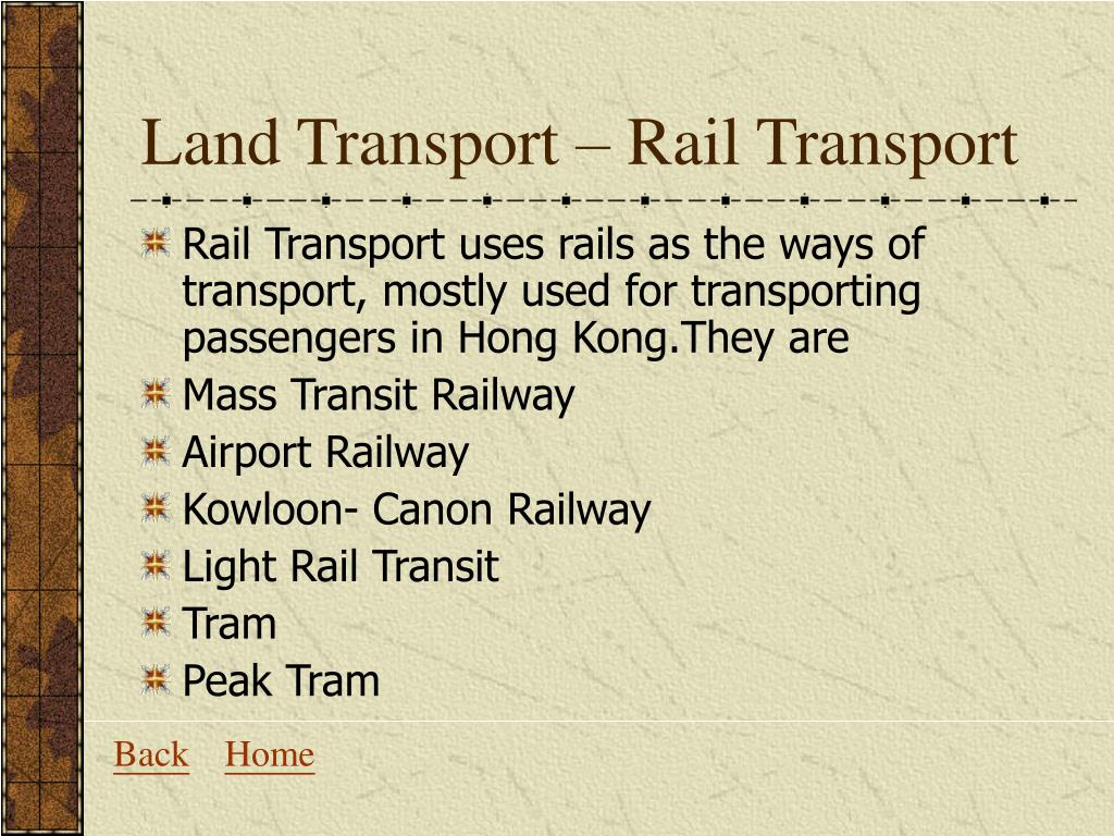 Land Transport – Rail Transport
