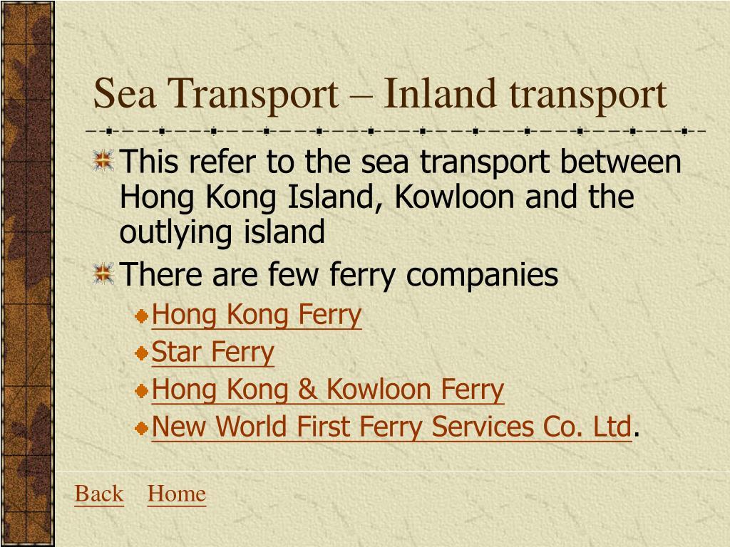 Sea Transport – Inland transport