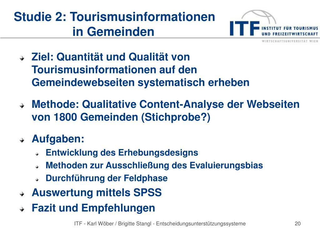 Studie 2: Tourismusinformationen